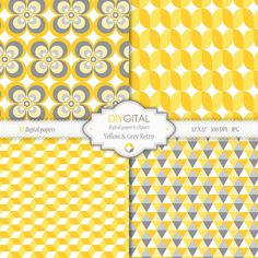 Yellow and Grey Retro Retro geometric digital papers by DIYgital