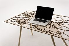 """This graphic modern day table entitled Fall Off was designed by New Zealand based industrial designer Sam Stringleman. """"Fall Off is a pc generated table in Unique Wood Furniture, Table Furniture, Contemporary Furniture, Contemporary Design, Furniture Design, Dream Furniture, Furniture Ideas, Cabinet D Architecture, Mid Century Design"""