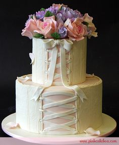 Sugar Roses and Sweet Peas on a Bridal Shower Cake.