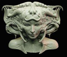Sculpture by Dan Zahen and Paul Komoda, based on H. Easy Clay Sculptures, Sculpture Clay, Giger Art, Hr Giger, Character Art, Character Design, Futuristic Art, Art Plastique, Artist Art