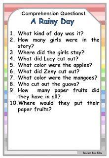 Teacher Fun Files: Reading English Poems For Kids, Learning English For Kids, English Lessons For Kids, Learn English Words, Spanish Lessons, Free Reading Comprehension Worksheets, Comprehension Questions, Reading Strategies, Reading Skills
