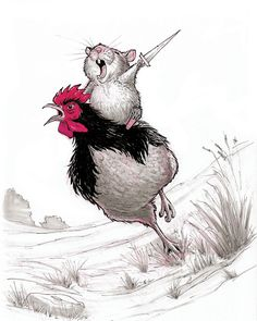 Warrior Hamster - Hamster Print - Hamster Art - Hamster Lover Gift - Rooster Illustration - Fantasy Animal Art - Hamster And Rooster - by AngeShopArt on Etsy Cute Animal Drawings, Animal Sketches, Art Sketches, Art Drawings, Animal Illustrations, Cute Animal Illustration, Rooster Illustration, Character Illustration, Warrior Drawing