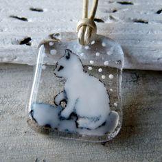 Kitten necklace  fused glass pendant cat jewelry by ArtoftheMoment, $42.00