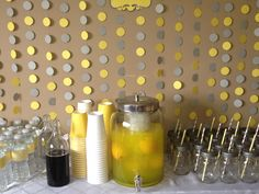 Grey and Yellow Baby Shower Drinks Table... Only use our color scheme. Love the back drop!