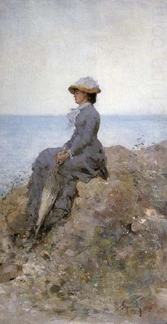 On the Sea Shore Nicolae Grigorescu Wholesale Oil Painting China Picture Frame 30767 Famous Artists, Great Artists, Beach Illustration, Winslow Homer, Oeuvre D'art, Whistler, Female Art, New Art, Painting & Drawing