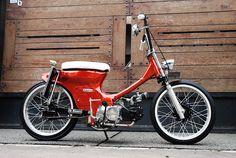 Red/White w/ triple tree Honda Cub, C90 Honda, Honda Ruckus, Custom Motorcycles, Custom Bikes, Mini Chopper, Motosport, Motor Scooters, Motorcycle Style