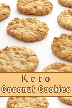 These simple gluten free Keto Coconut Cookies are a great portable snack. These Keto Coconut Cookies should be. Keto Cookies, Coconut Flour Cookies, Cookies Et Biscuits, Keto Peanut Butter Cookies, Protein Cookies, Almond Flour, Almond Milk, Coconut Oil, Keto Brownies