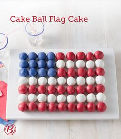 A fun way to celebrate the Fourth of July, our attention-grabbing Cake Ball Flag Cake is made with your favorite flavor of Betty Crocker cake mix and decorated with patriotic-colored candy melts and vanilla frosting. Freeze the cake balls ahead of time fo (Business Card Creative Cake)