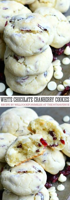 Cookie Recipe - These White Chocolate Cranberry Soft and Chewy Crinkle Cookies are perfect to share as an Edible Christmas Treat with neighbors and friends, or for  Cookie Exchange Christmas Parties! PIN IT NOW and make them later!: