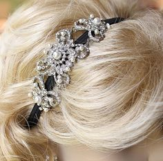 Crystal Pearl Flapper Headband, Bridesmaid Jewelry, Bling Old Hollywood Great Gatsby Event Party Wedding Hair Accessory