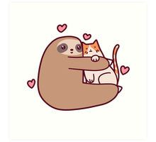 'Sloth Loves Cat' Sticker by SaradaBoru Baby Sloth, Cute Sloth, Tumblr Stickers, Cat Stickers, Tier Doodles, Baby Animals, Cute Animals, Anime Animals, Sloth Drawing