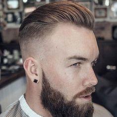 Slicked Back Hair + High Skin Fade + Full Beard Best Fade Haircuts, Fade Haircut Styles, Haircuts For Men, Modern Haircuts, Short Haircuts, Slick Back Hair Fade, Slick Back Haircut, Drop Fade Haircut, Beard Styles For Men