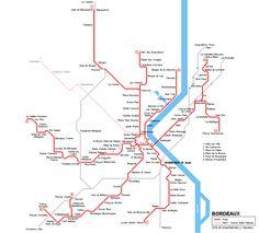 Bordeaux Tram Map France 2016