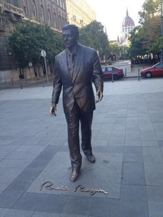 Ronald Reagan Statue by Istvan Mate, Budapest, Hungary - the 7-foot bronze statue of former U.S. President, Ronald Reagan honoring him for his role in helping to end communism was unveiled in the same square as a memorial to Soviet troops liberating Hungary in 1945.