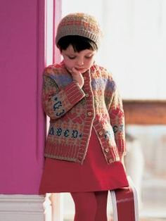 Apricot - Knit this child's fairisle cardigan and beret from the Baby Merino Silk DK Mini Collection, a design by Martin Storey from the Rowan archive...