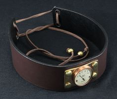 Choker collar, Steampunk, faux leather, brass and copper bezel, image in resin, Old voltmeter 001 by crquack on Etsy