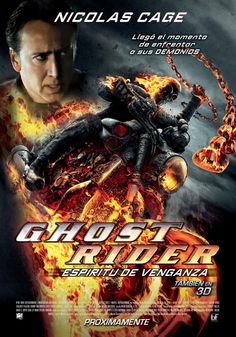 When the devil resurfaces with aims to take over the world in human form, Johnny Blaze reluctantly comes out of hiding to transform into the flame-spewing supernatural hero Ghost Rider -- and rescue a boy from an unsavory end. Marvel Dc Movies, Marvel Heroes, Action Movie Poster, Action Movies, Nicolas Cage, Idris Elba, Ghost Rider Movie, Dc Comics, Spirit Of Vengeance