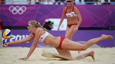 Hana Klapalova of Czech Republic dives to return the ball during the women's Beach Volleyball preliminary match between Brazil and the Czech Republic on Day 5 of the London 2012 Olympic Games at Horse Guards Parade.