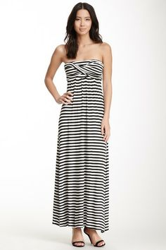 Wrapped Bust Strapless Maxi Dress