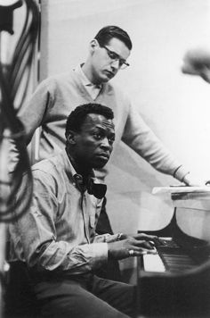 Bill Evans and Miles Davis recording Kind of Blue, 1959.