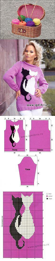 Для любительниц кошек. Веселый розовый джемпер с «кошками». Спицы  =)