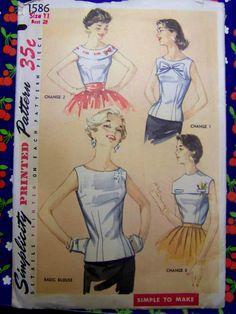 Vintage 1950s Simplicity 1586  Basic by raggspatternstash on Etsy