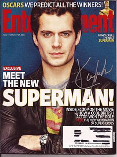 Rare Superman Henry Cavill Autograph Hand Signed Entertainment Weekly Magazine