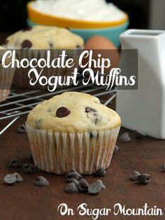 Chocolate Chip Yogurt Muffins (recipe) - On Sugar Mountain