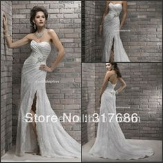 2013 Sexy Style Sweetheart Appliques Lace Organza A Line Split Leg Wedding Dresses US $189.00
