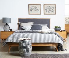 The Betty bed gives this bedroom a contemporary interior style with a touch of 60s design
