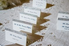 Bring glamour, glitz, style and elegance to your wedding or bridal shower with these beautiful tent escort/place cards!  These escort cards