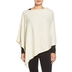 Eileen Fisher Cashmere Poncho ($338) ❤ liked on Polyvore featuring outerwear, petite, soft white, eileen fisher, white poncho, eileen fisher poncho, cashmere poncho and white slip