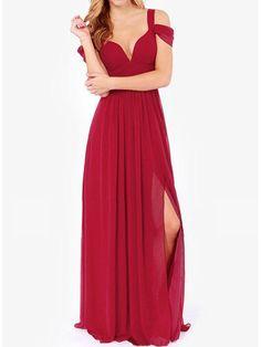 aba5d4afa42d Open Shoulder High Slit Plain Chiffon Empire Evening Dress