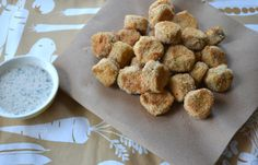 Oven fried pickle chips with buttermilk dipping sauce
