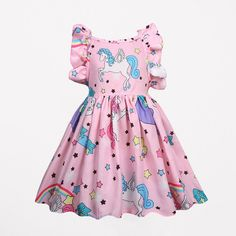 Cute Horse Print Girls Sleeveless Cotton Dress For is cheap, come to NewChic and buy cute flower girl dresses now! Cute Flower Girl Dresses, Little Girl Dresses, Ropa Color Pastel, Flamingo Outfit, Girls Dresses Online, Unicorn Dress, Daily Dress, Matching Family Outfits, Baby Outfits Newborn