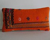 orange pillow cover embroidered kilim Pillow Decorative Throw Pillow kilim cushion lumbar pillow kilim rug turkish cushion accent toss sham