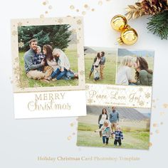 Christmas Card Template! Very easy to use! Just add your photo and text and you are ready to print! (need photoshop or photoshop elements to