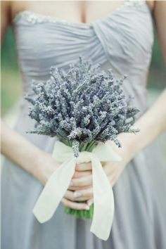Lavender dress and bouqet