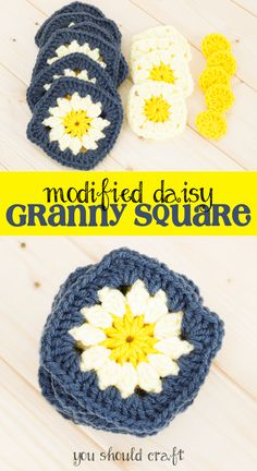 Looking to crochet a cute and easy granny square this spring? Look no further! These modified daisy granny squares are only three rounds, can be used with classic granny squares, and have an adorable daisy flower at the center. They're the perfect crochet project for spring! via @YouShouldCraft Click for the free crochet pattern or re-pin for later!