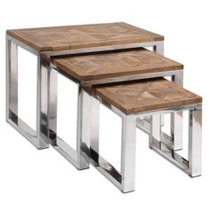 Furniture - Solid Wood Nesting Tables - Set Of 3                                                                                                                                                                                 Más