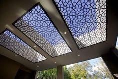 Laser Cut Panels, Metal Panels, Roof Design, Ceiling Design, Decorative Metal Screen, Cnc Cutting Design, Roof Ceiling, Condo Living Room, Garage Renovation