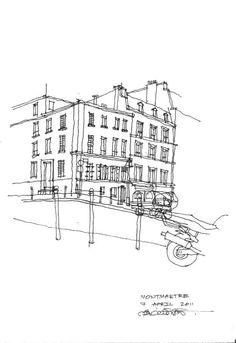 Architectural Sketch Shophouse, Montmarte, Paris
