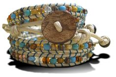 Wrap Bracelet in White, Browns & Blues
