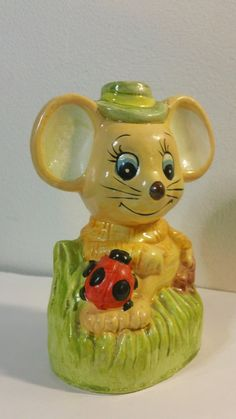 Vintage yellow Mouse plaster ceramic Coin Bank by kitschannette
