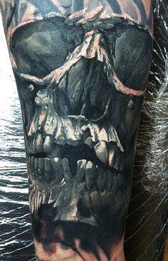 Tattoo Artist - Dmitry Vision | www.worldtattoogallery.com/skull-tattoo