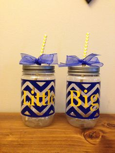 Pair of Big Little Plastic Mason Jars with by BlackCatCollege, $15.00