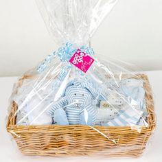 Luxury 7 Piece Presentation Gift Basket for a Baby Boy