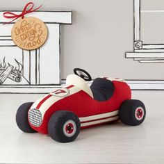 When it comes to plush race cars, our Grandest Prix Plush Speedster takes the checkered flag. It features tons of realistic vintage race car elements like an aerodynamic design, removable tires and racing stripes, all on a comfy plush body. All Toys, Kids Toys, Race Car Nursery, Baby Bling, Ride On Toys, Baby Store, Toy Trucks, Jouer, Kids Decor