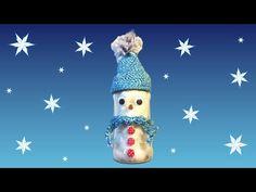 Sneeuwpop maken van een pot met watten