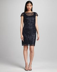 Cap-Sleeve Lace Shift Dress, Women\'s by Kay Unger New York Women\'s at Neiman Marcus.